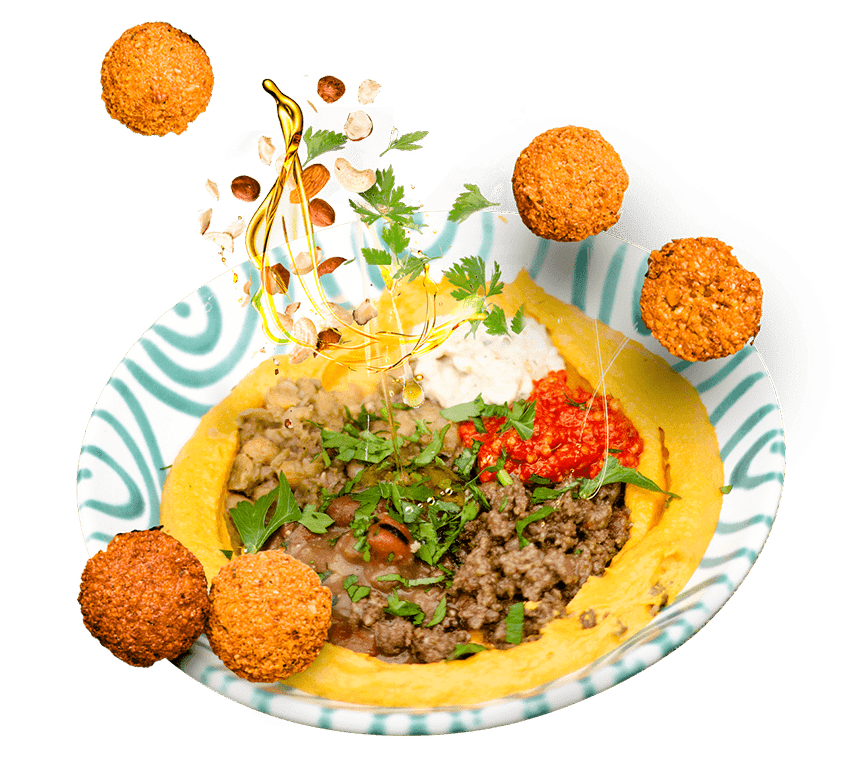 Build your own hummus bowl and get it delivered in Vienna.